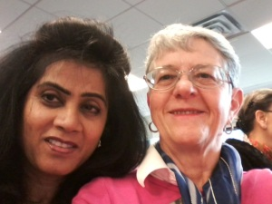 Shaila Mistry from WG-USA and Susan Murphy, CFUW President, on Wednesday morning at the briefing by UN Women.  Shaila is part of our delegation and a long standing participant at CSW.